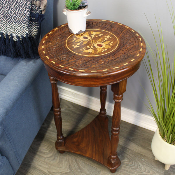 Natural Geo Decorative Rosewood Round Wooden Carved Floral Accent Table