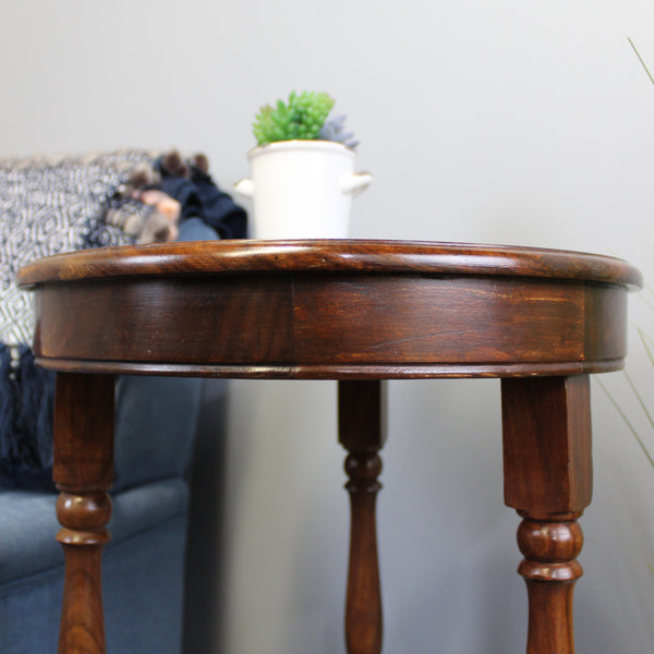 Natural Geo Decorative Rosewood Round Wooden Carved Accent Table