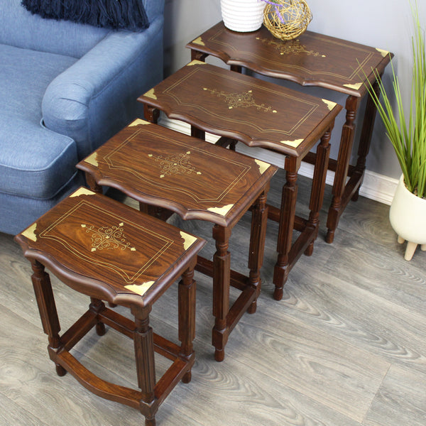 Natural Geo Decorative Rosewood Set of 4 Nesting Tables - Wavy
