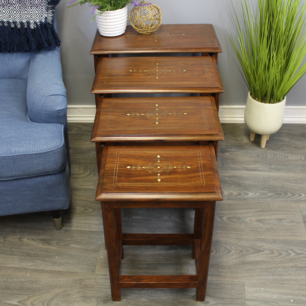 Natural Geo Decorative Rosewood Set of 4 Nesting Tables - Rectangular