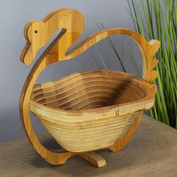 Natural Geo Handcarved Wooden Duck Collapsible Fruit Tray