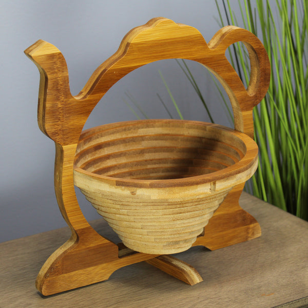 Natural Geo Handcarved Wooden Teapot Collapsible Fruit Tray