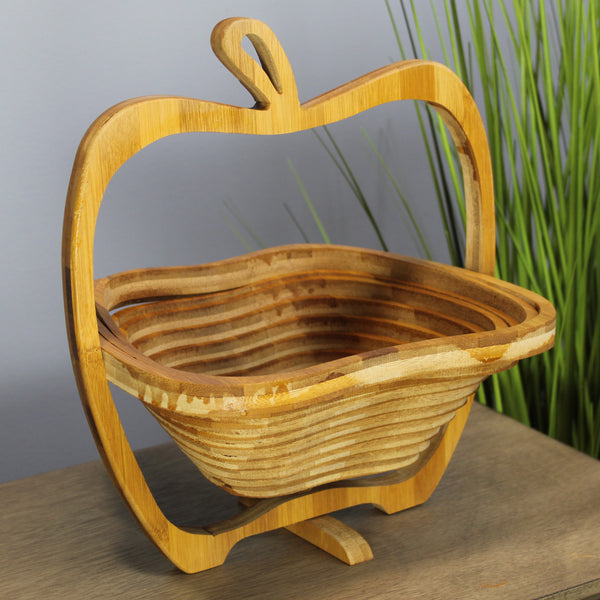 Natural Geo Handcarved Wooden Apple Collapsible Fruit Tray
