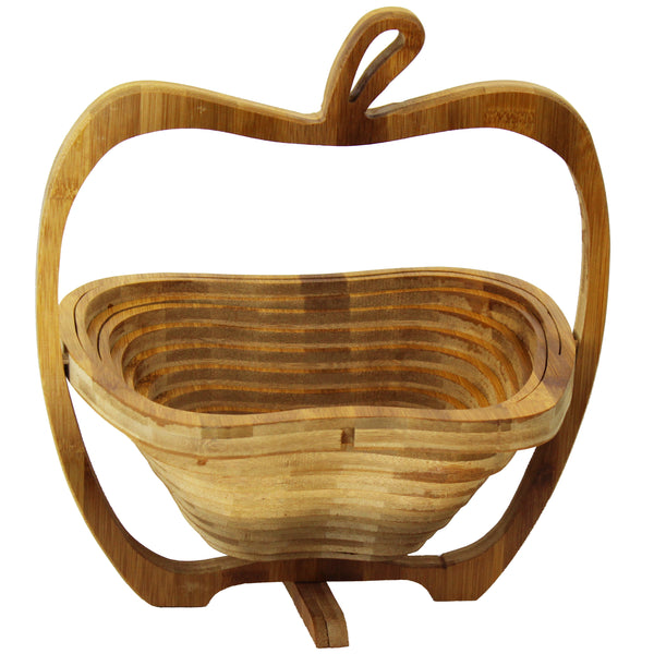 Natural Geo Handcarved Wooden Apple Collapsible Fruit Basket