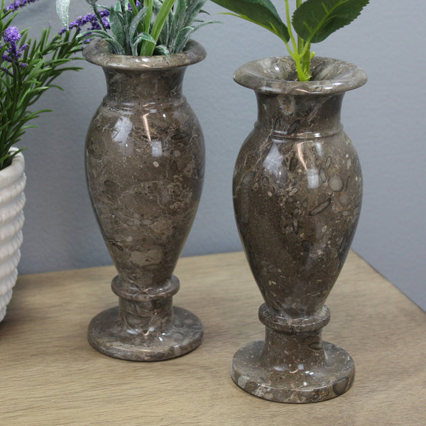 "Natural Geo Gray Decorative Handcrafted 6"" Marble Vase (Set of 2)"