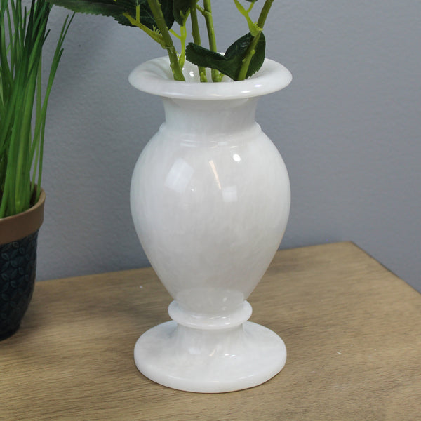 "Natural Geo White Decorative Handcrafted 8"" Marble Vase"