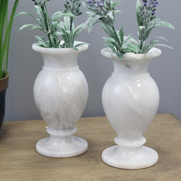 "Natural Geo White Decorative Handcrafted 6"" Marble Vase (Set of 2)"