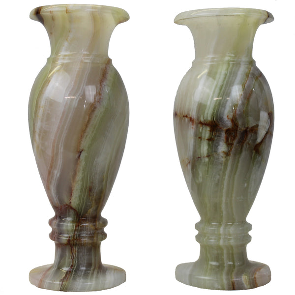 "Natural Geo Multicolored Decorative Handcrafted 8"" Onyx Vase (Set of 2)"