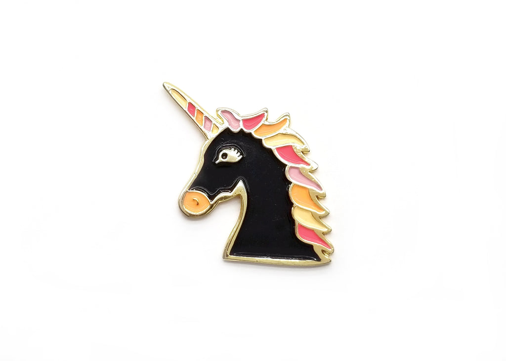 Magical Unicorn Pin - Black Flame - Majesty and Friends - available from Majesty and Friends