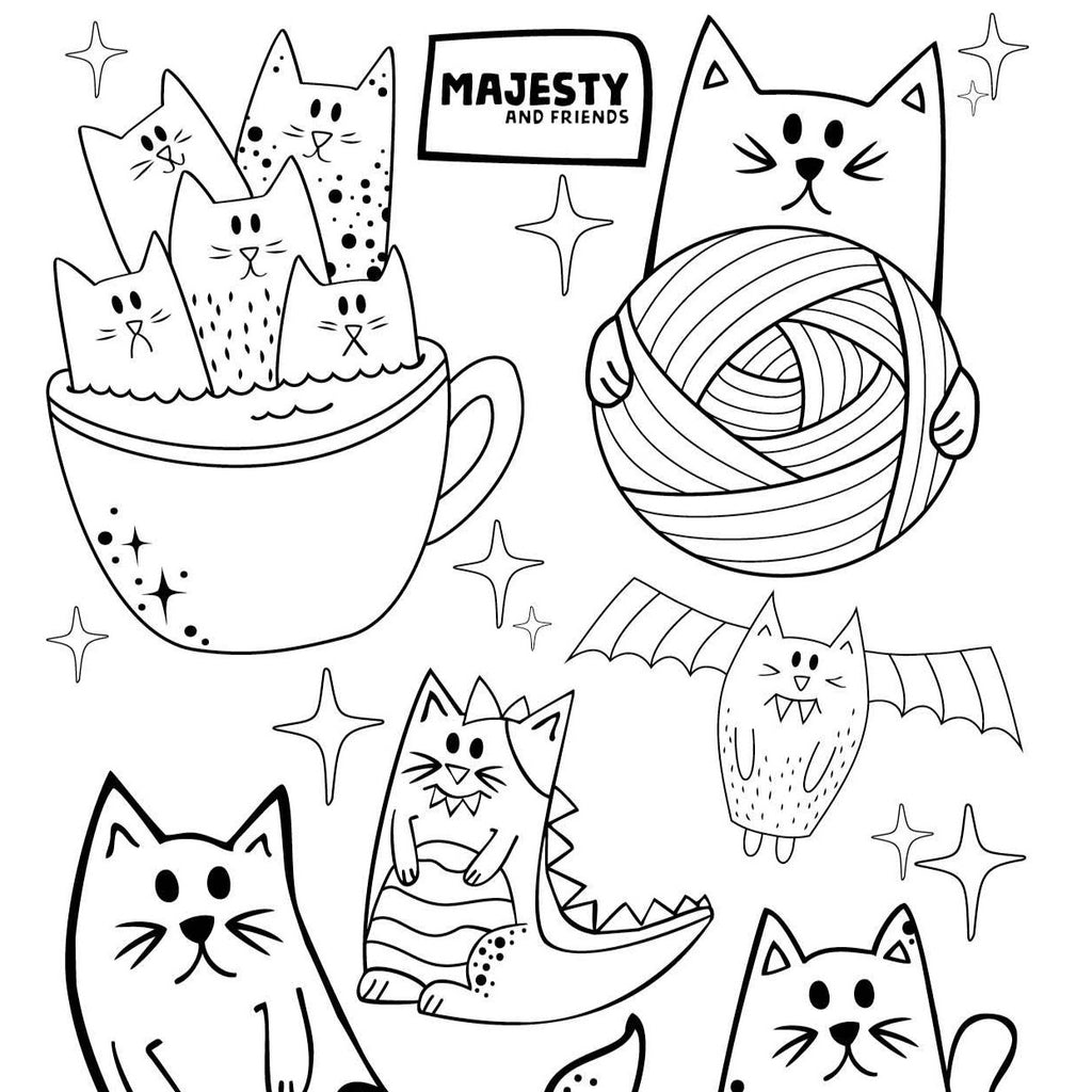 A Free Coloring Fun Sheet - Cute Cat Friends - Majesty and Friends - available from Majesty and Friends