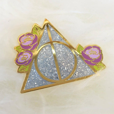 Deathly Hallows - Purple Flower + Sparkle - Enamel Pin - Majesty and Friends - available from Majesty and Friends