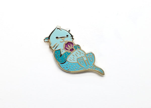 LanaBetty Mint Green Sea Otter Enamel Pin - LanaBetty - available from Majesty and Friends