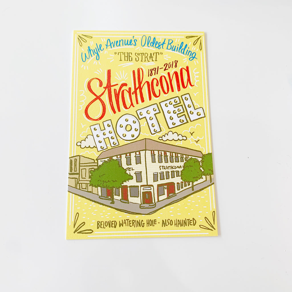 Strathcona Hotel Illustrated Postcard by Jojo & Gun - Jojo and gunn - available from Majesty and Friends