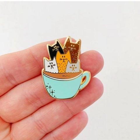 Coffee Cats Enamel Pin - Majesty and Friends - available from Majesty and Friends