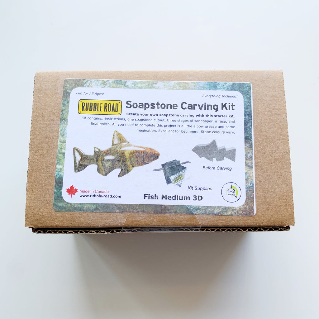 Soapstone Carving Kit Fish Medium - Rubble Road - available from Majesty and Friends