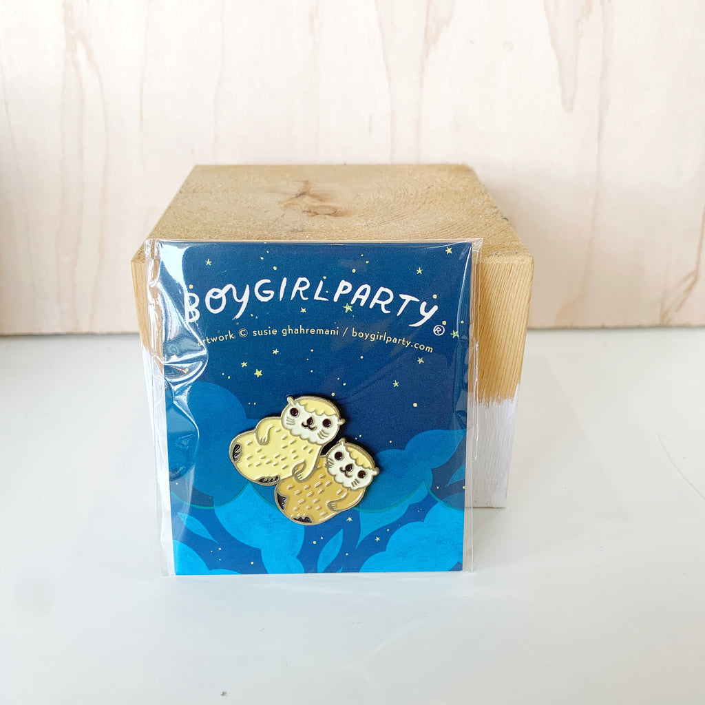Boy Girl Party Pin Otters - Boy Girl Party - available from Majesty and Friends