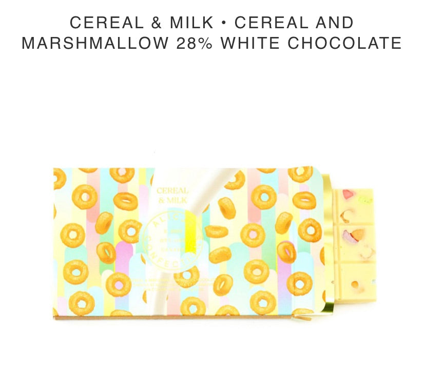 Cereal and Milk White Chocolate Bar - Alicja confections - available from Majesty and Friends