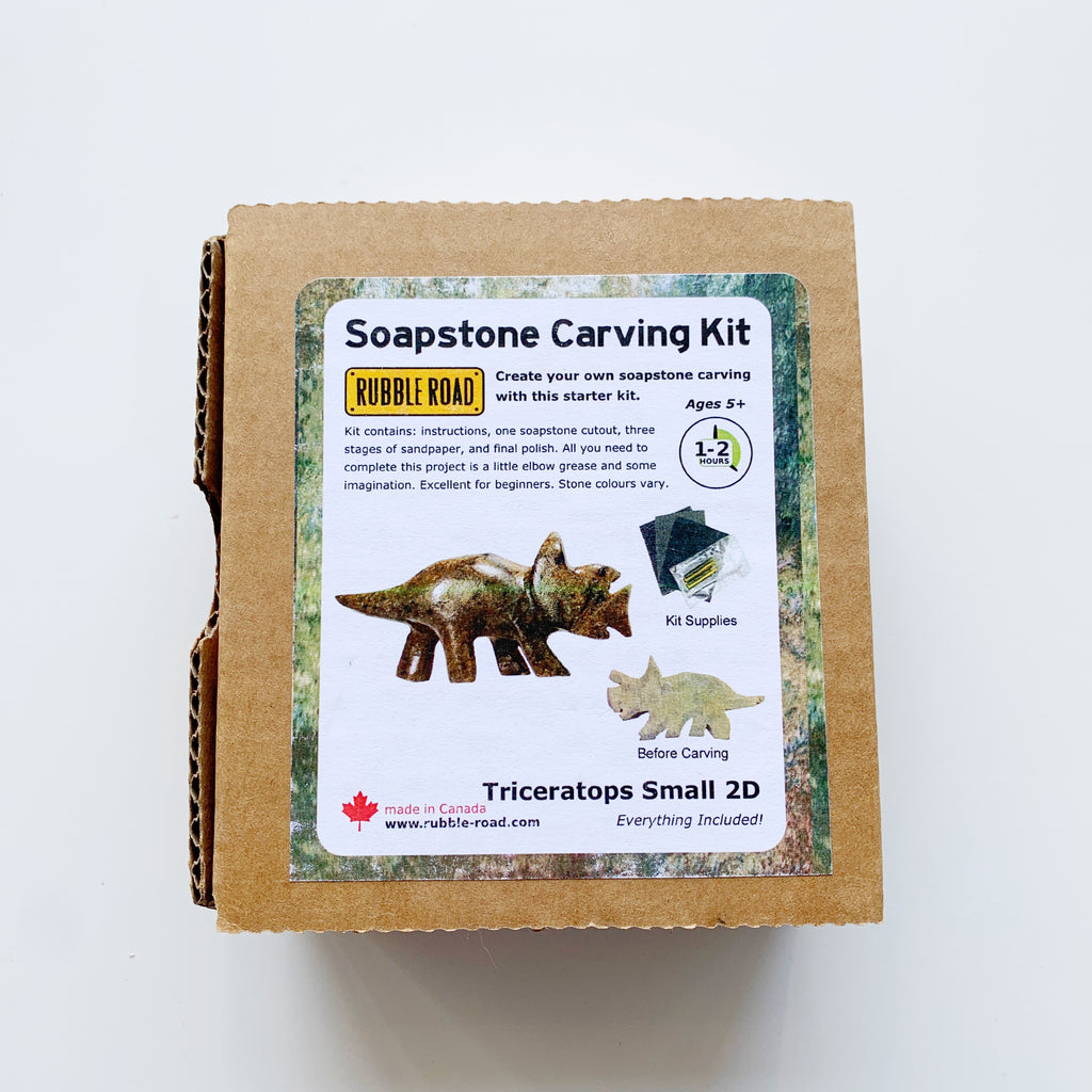 Soapstone Carving Kit Triceratops Small - Rubble Road - available from Majesty and Friends