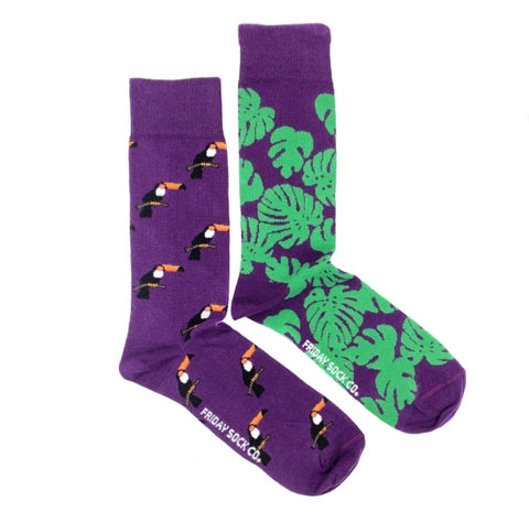 Friday Men's Socks Monstera and Toucans - Friday socks - available from Majesty and Friends