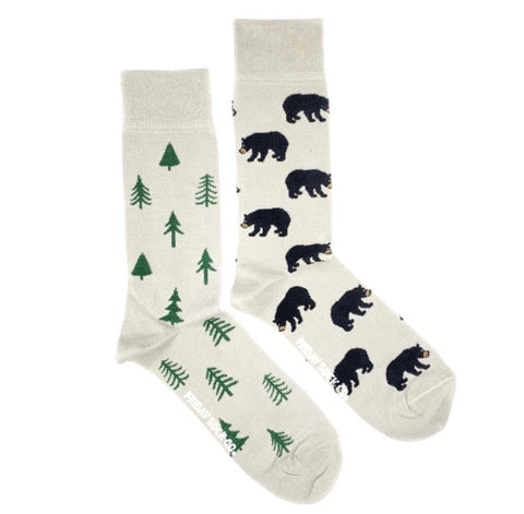 Friday Men's Socks Bears and Trees - Friday socks - available from Majesty and Friends