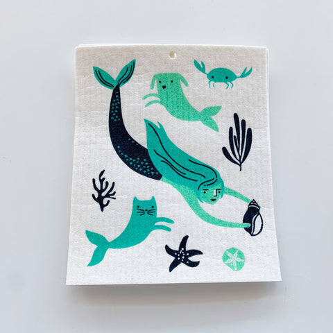 Swedish Dishcloth: Mermaids - Majesty and Friends - available from Majesty and Friends