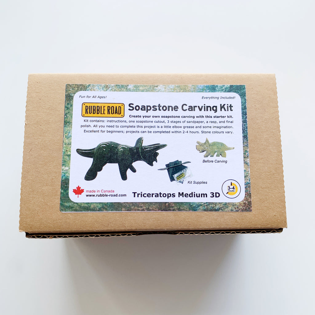 Soapstone Carving Kit Triceratops Medium - Rubble Road - available from Majesty and Friends