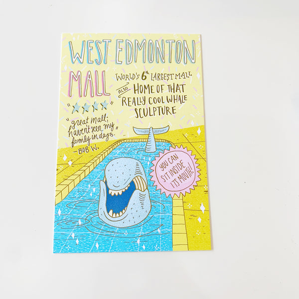 West Edmonton Mall Illustrated Postcard by Jojo & Gun - Jojo and gunn - available from Majesty and Friends