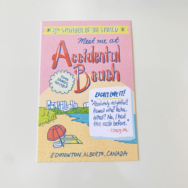 Accidental Beach Edmonton Postcard by Jojo & Gun - Jojo and gunn - available from Majesty and Friends
