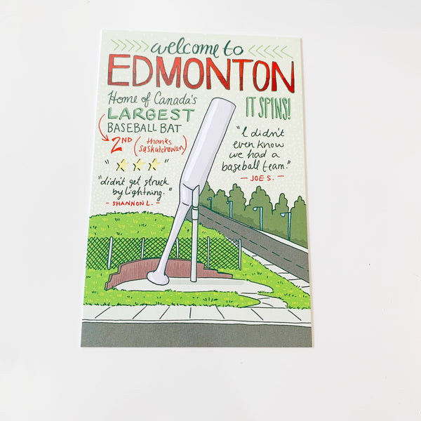 Welcome to Edmonton Illustrated Postcard by Jojo & Gun - Majesty and Friends - available from Majesty and Friends