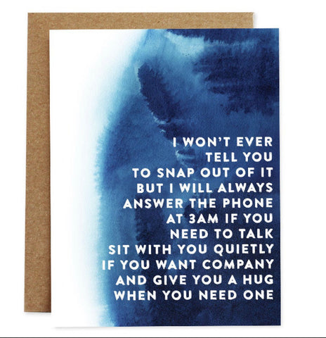Card: I will always answer the phone