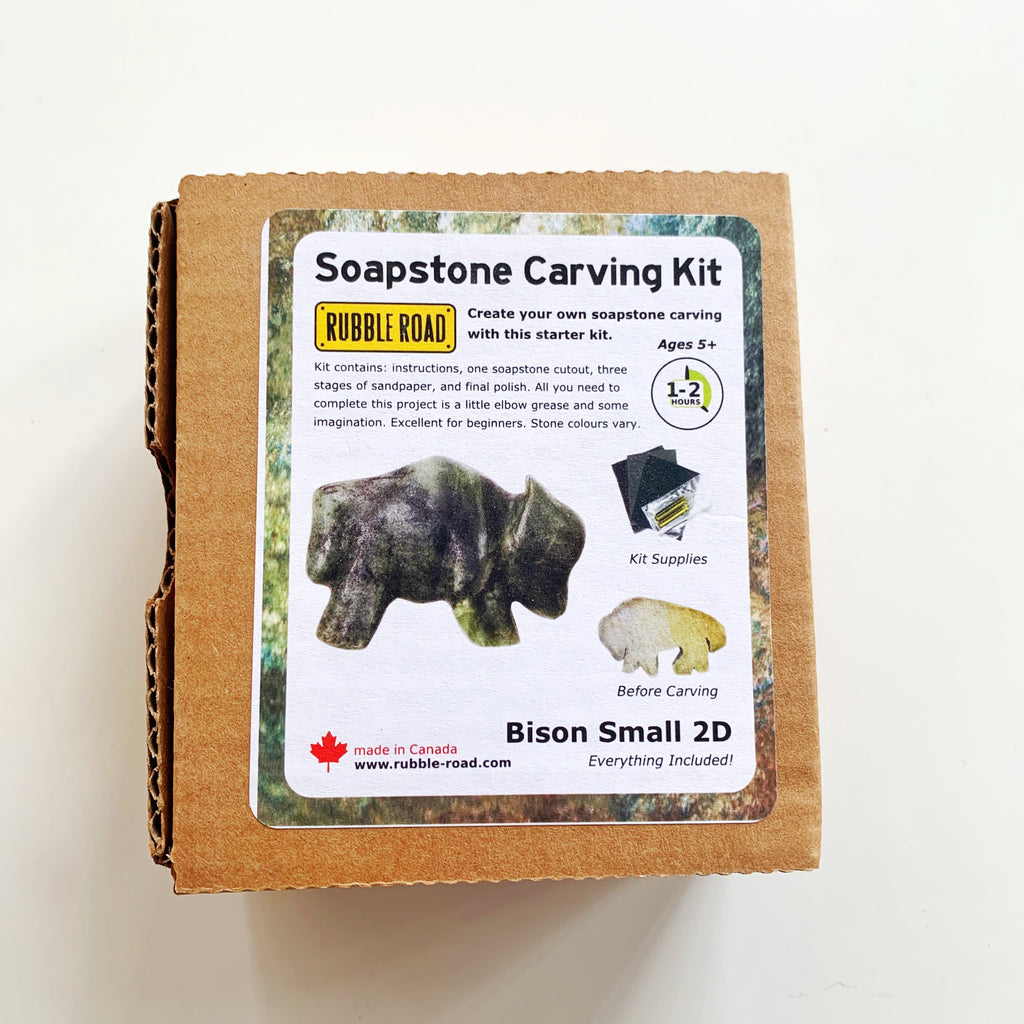 Soapstone Carving Kit Bison - Rubble Road - available from Majesty and Friends