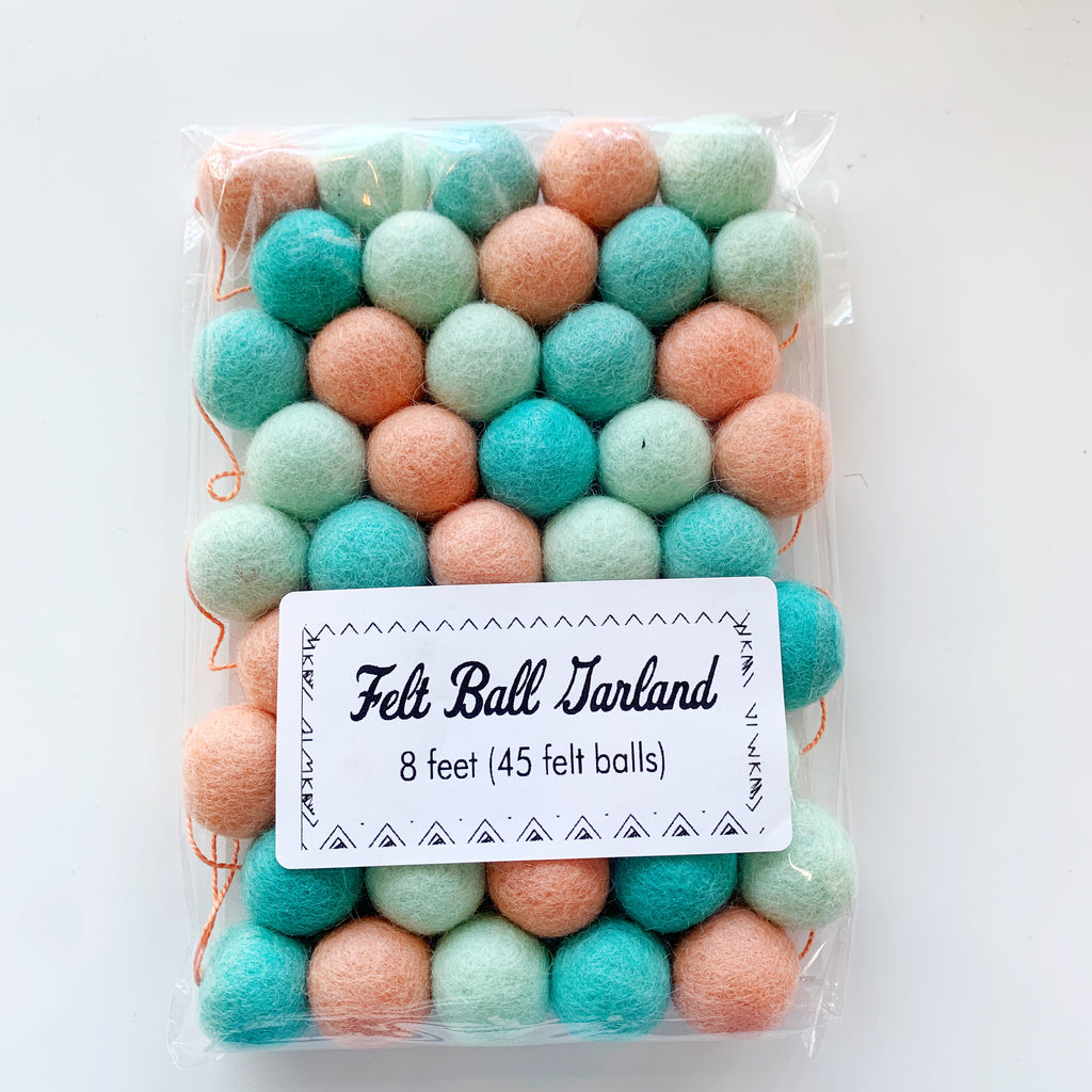 Pom Poms! Aqua Mint Peach - Clever Arrow - available from Majesty and Friends