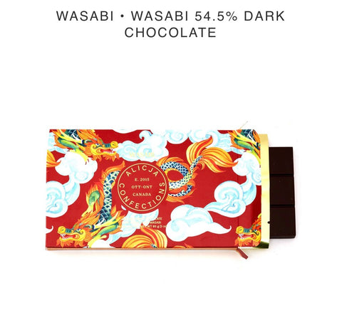 Wasabi Dark Chocolate Bar - Alicja confections - available from Majesty and Friends