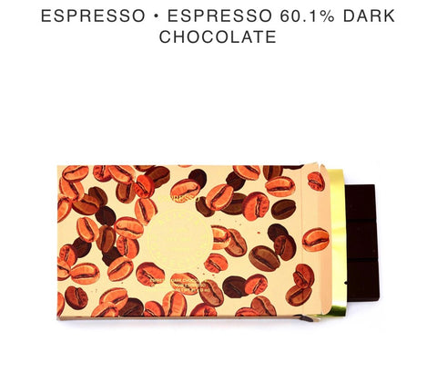 Espresso 60.1% Dark Chocolate Bar - Alicja confections - available from Majesty and Friends