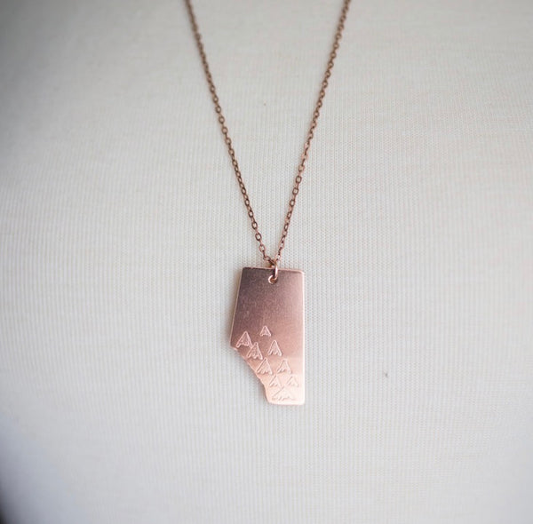 Smithstine Alberta Mountains Copper Pendant - Smithstine - available from Majesty and Friends