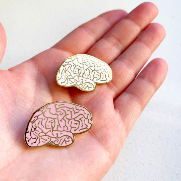 Healthy Pink Brain Enamel Pin - Majesty and Friends - available from Majesty and Friends