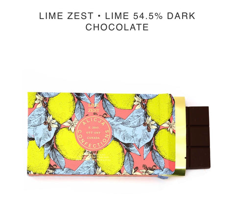 Lime Zest Dark Chocolate Bar - Alicja confections - available from Majesty and Friends
