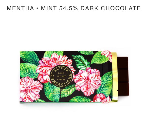 Mentha Dark Chocolate Bar - Alicja confections - available from Majesty and Friends