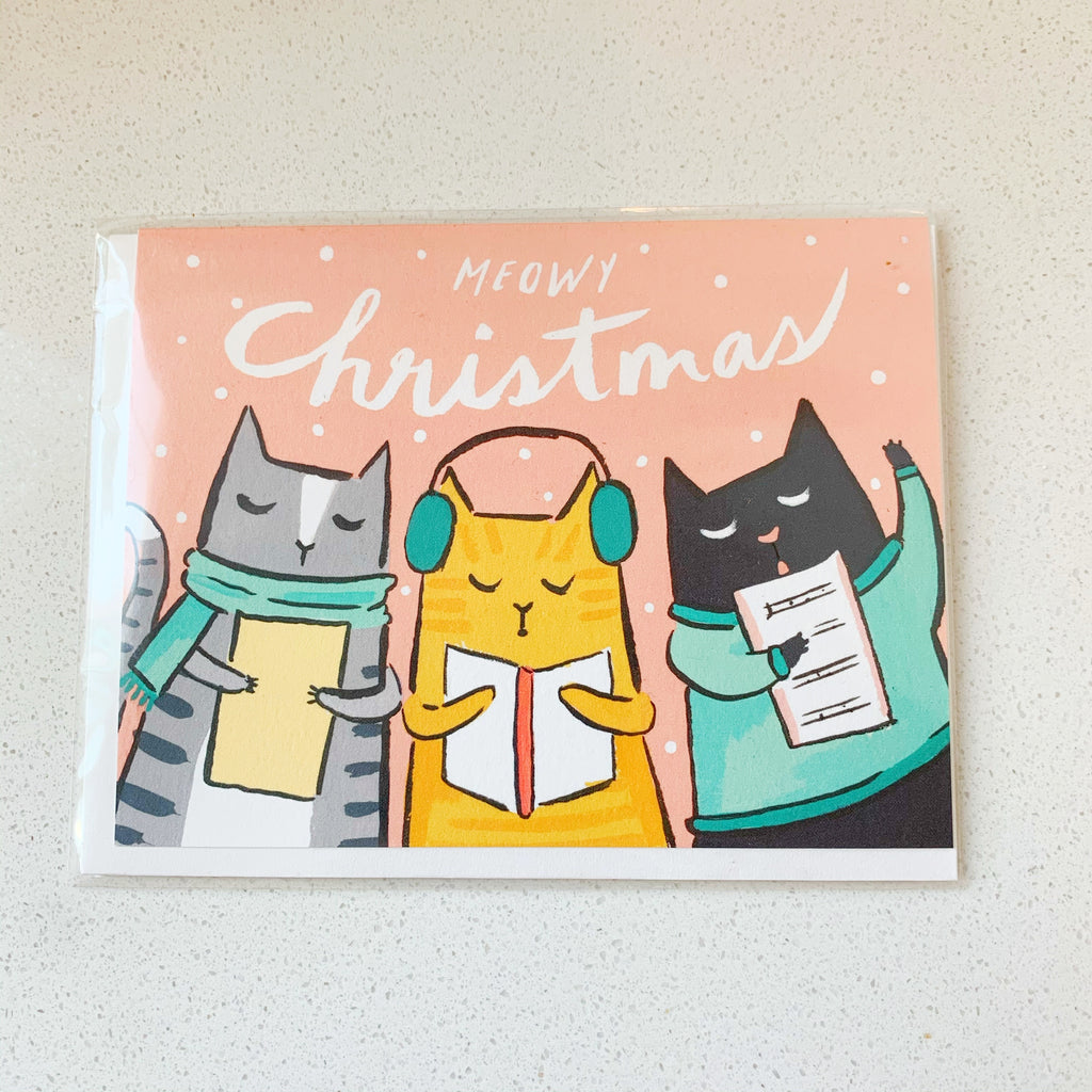 Merry Christmas Card! Caroling Cats!