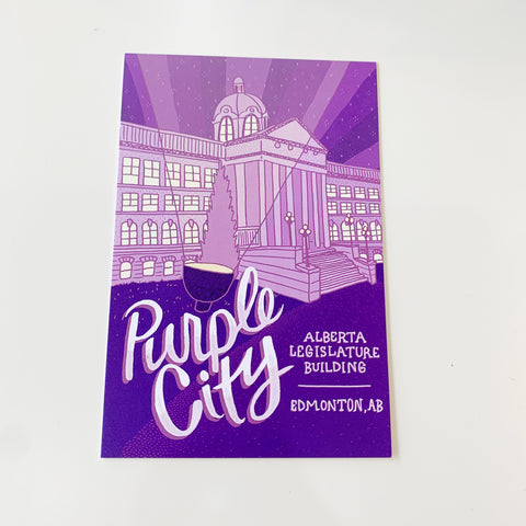 Purple City Illustrated Edmonton Postcard by Jojo & Gun - Jojo and gunn - available from Majesty and Friends