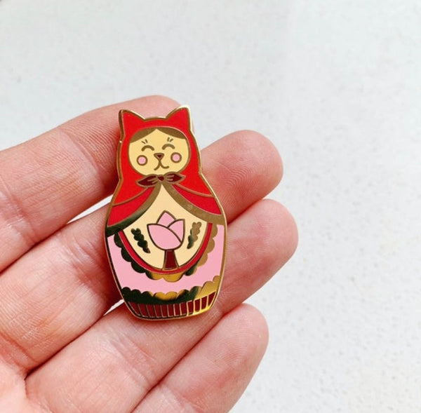 Matryoshka Cat Enamel Pin - Majesty and Friends - available from Majesty and Friends