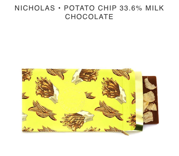 Nicholas Potato Chip Milk Chocolate Bar - Alicja confections - available from Majesty and Friends