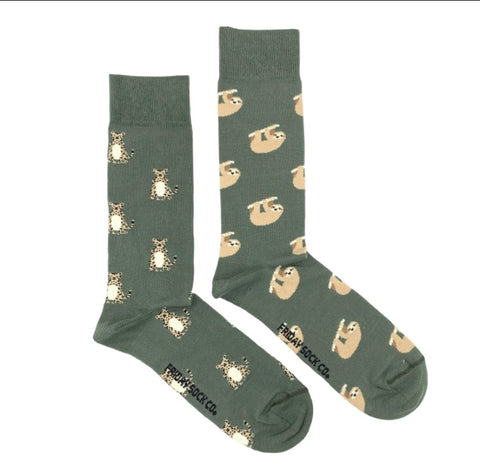 Friday Men's Socks Sloths and Cheetas - Friday socks - available from Majesty and Friends