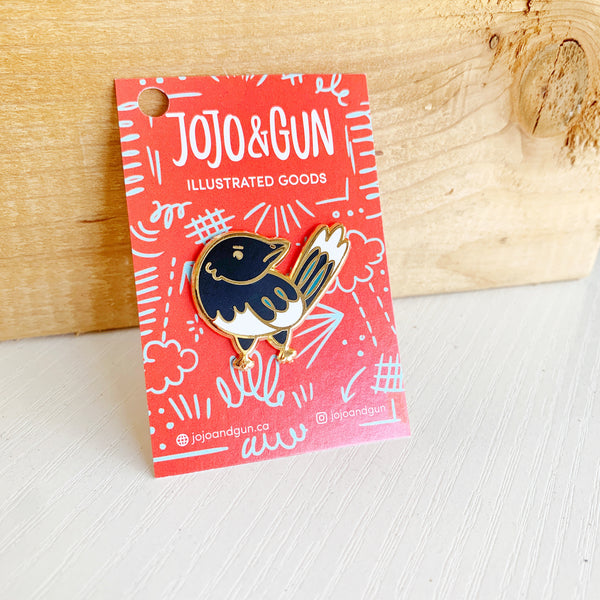 Edmonton Magpie Enamel Pin by Jojo & Gun - Jojo and gunn - available from Majesty and Friends