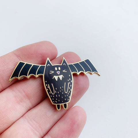 Black Bat Cat Enamel Pin - Majesty and Friends - available from Majesty and Friends