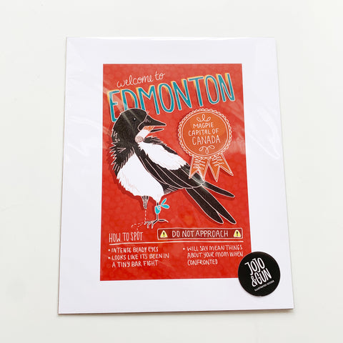 Welcome to Edmonton Print - Jojo and gunn - available from Majesty and Friends
