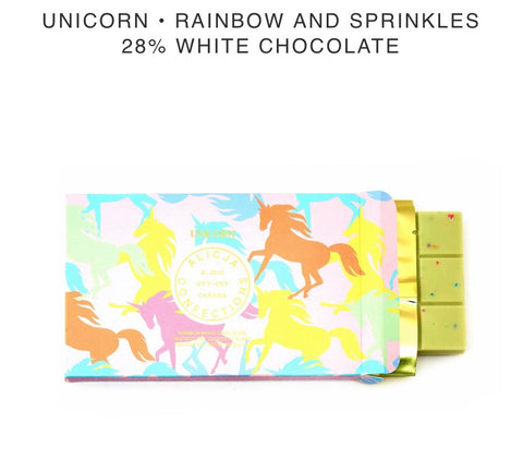 Unicorn Rainbow and Sprinkles White Chocolate Bar - Alicja confections - available from Majesty and Friends