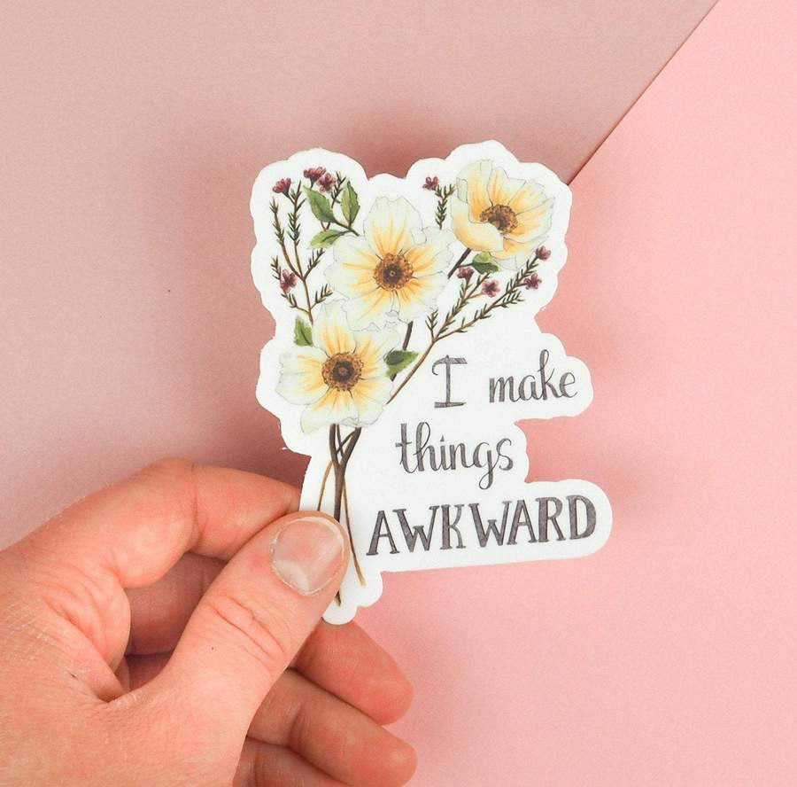 Naughty Florals Vinyl Sticker- Awkward.
