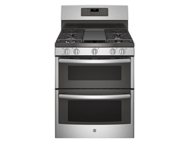 "30"" GE Free-Standing Double Oven Gas with Convection and Self-Cleaning w/Steam Clean Range - JCGB860SEJSS"