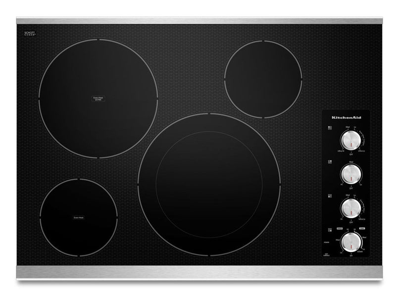 "30"" KitchenAid Electric Cooktop with 4 Radiant Elements - KECC604BSS"